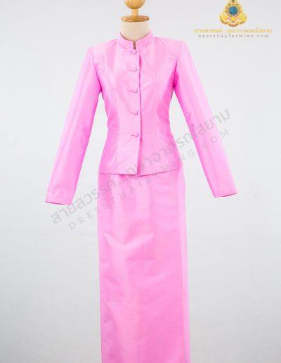 ชุดไทยจิตรลดาผ้าไหมปักธงชัยสีชมพู