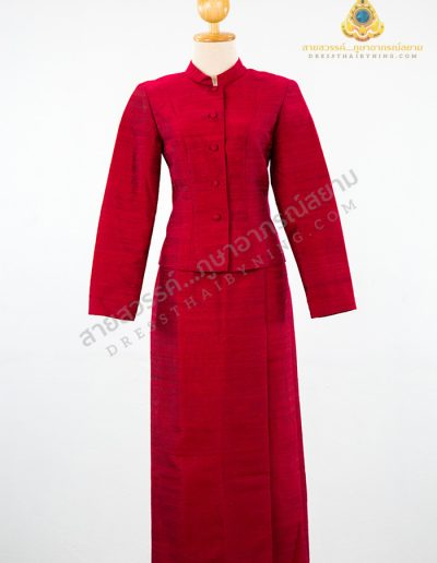 ชุดไทยจิตรลดาผ้าไหมสี่เส้นสีแดง