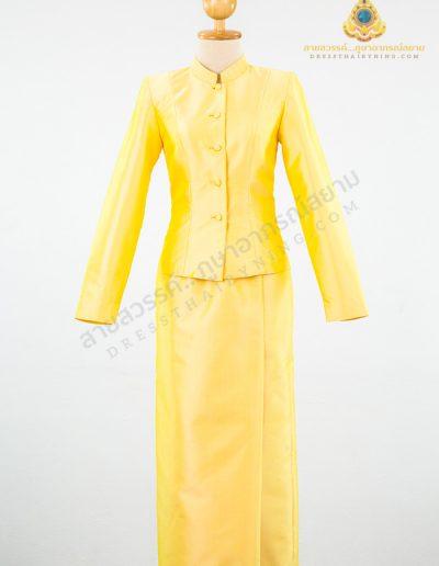 ชุดไทยจิตรลดาผ้าไหมปักธงชัยสีเหลืองอ่อน