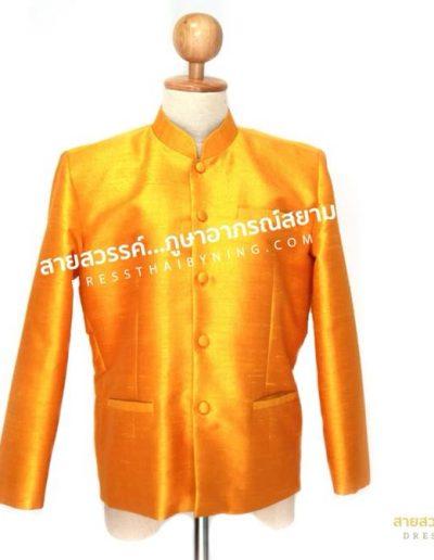 เสื้อพระราชทานแขนยาวสีเหลืองจำปาแก่ ผ้าไหมปักธงชัยไหมสี่เส้น ( Size S , M )  ราคาตัวละ 4,500.-