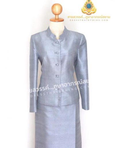 ชุดไทยจิตรลดาผ้าไหมจากมูลนิธิส่งเสริมศิลปาชีพฯ สีเทา ( size L ) ราคา 7,500.-พร้อมส่งค่ะ
