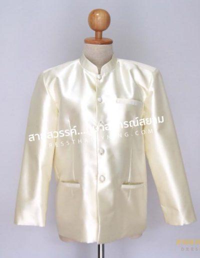 เสื้อพระราชทานแขนยาวสีงาช้าง ผ้าไหมปักธงชัยเนื้อพิเศษ มี 3 ตัว ( Size S , M , L ) ราคาตัวละ 5,500.-